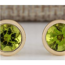 3.00 CTW Peridot Earrings 18K Solid Yellow Gold