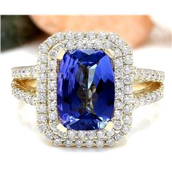 4.29 CTW Natural Tanzanite 18K Solid Yellow Gold Diamond Ring