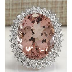 27.54 CTW Natural Peach Morganite And Diamond Ring In 14K Solid White Gold