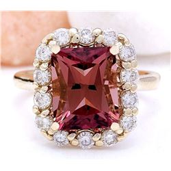 6.60 CTW Natural Tourmaline 18K Solid Yellow Gold Diamond Ring