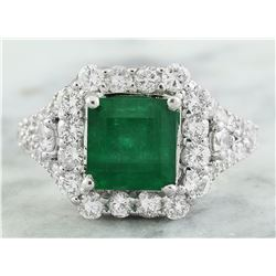 4.50 CTW Emerald 18K White Gold Diamond Ring