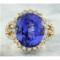 20.15 CTW Tanzanite 18K Yellow Gold Diamond Ring
