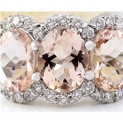 8.23 CTW Natural Morganite 14K Solid White Gold Diamond Ring