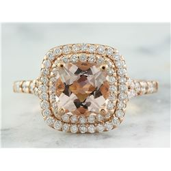 2.25 CTW Morganite 18K Rose Gold Diamond Ring