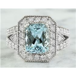 4.68 CTW Aquamarine 14K White Gold Diamond Ring