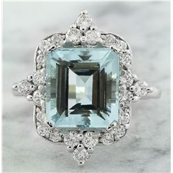 5.05 CTW Aquamarine 14K White Gold Diamond Ring