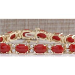 18.44CTW Natural Red Coral And Diamond Bracelet In 14K Solid Yellow Gold