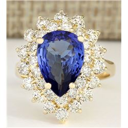 4.73 CTW Natural Blue Tanzanite And Diamond Ring 18K Yellow Gold
