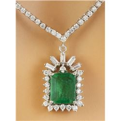 8.53 CTW Emerald 18K White Gold Diamond Necklace