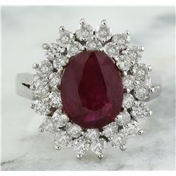 3.54 CTW Ruby 18K White Gold Diamond Ring