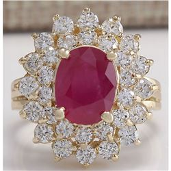 5.72 CTW Natural Ruby And Diamond Ring 18K Solid Yellow Gold