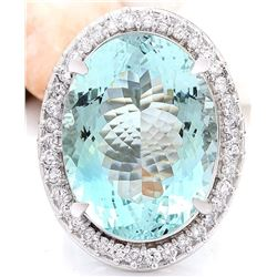 27.82 CTW Natural Aquamarine 18K Solid White Gold Diamond Ring