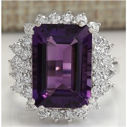 7.75 CTW Natural Amethyst And Diamond Ring In 18K Solid White Gold