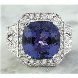 10.70 CTW Tanzanite 18K White Gold Diamond Ring
