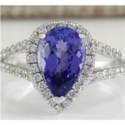 2.80 CTW Natural Blue Tanzanite And Diamond Ring 18K Solid White Gold