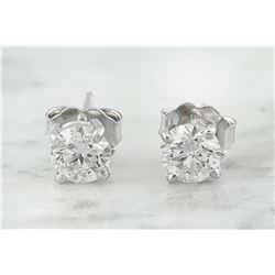 0.80 CTW Diamond 14K White Gold Solitaire Stud Earrings