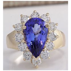 4.36 CTW Natural Blue Tanzanite And Diamond Ring 18K Solid Yellow Gold