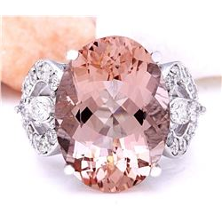 12.56 CTW Natural Morganite 18K Solid White Gold Diamond Ring