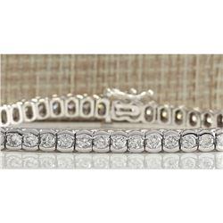 5.60CTW Natural Diamond Bracelet In 18K Solid White Gold