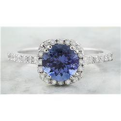 2.01 CTW Tanzanite 18K White Gold Diamond Ring