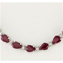 49.20 CTW Natural African Ruby And Diamond Necklace In 14k White Gold