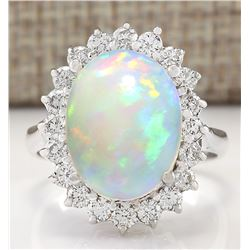 5.19 CTW Natural Opal And Diamond Ring In14k White Gold