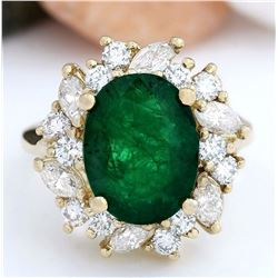 6.94 CTW Natural Emerald 14K Solid Yellow Gold Diamond Ring