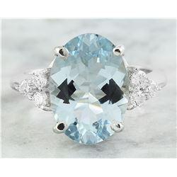 5.32 CTW Aquamarine 18K White Gold Diamond Ring