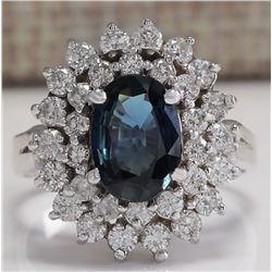 3.33 CTW Natural Blue Sapphire Diamond Ring 18K Solid White Gold