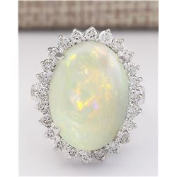 11.41 CTW Natural Opal And Diamond Ring In 14k White Gold