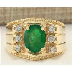 2.87 CTW Natural Emerald And Diamond Ring In 14K Yellow Gold