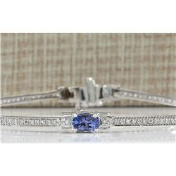 3.75 CTW Natural Tanzanite And Dimond Bracelet In 14k Solid White Gold