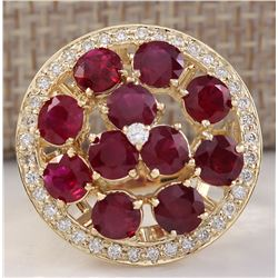 4.93 CTW Natural Red Ruby And Diamond Ring 18K Solid Yellow Gold