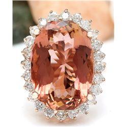 16.60 CTW Natural Morganite 18K Solid Rose Gold Diamond Ring