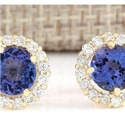2.65 CTW Natural Blue Tanzanite And Diamond Earrings 18K Solid Yellow Gold