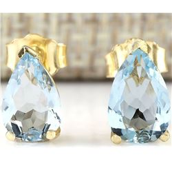2.00 CTW Natural Aquamarine Earrings 18K Solid Yellow Gold