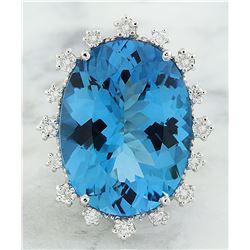 32.40 CTW Topaz 14K White Gold Diamond Ring