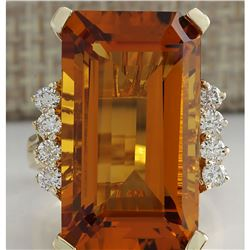 19.30 CTW Natural Madeira Citrine And Diamond Ring 14K Solid Yellow Gold