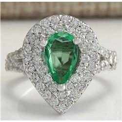 2.36 CTW Natural Emerald And Diamond Ring 18K Solid White Gold