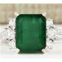 6.10 CTW Natural Emerald And Diamond Ring In 18K White Gold