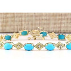 5.31 CTW Natural Turquoise And Diamond Bracelet In 18K Yellow Gold