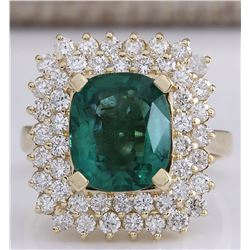 5.27 CTW Natural Emerald And Diamond Ring 14K Solid Yellow Gold