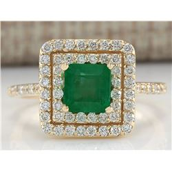 1.72 CTW Natural Emerald And Diamond Ring 18K Solid Yellow Gold