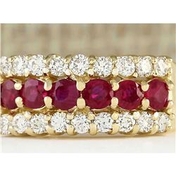 1.60 CTW Natural Ruby And Diamond Ring In 18K Yellow Gold