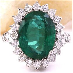 9.80 CTW Natural Emerald 18K Solid White Gold Diamond Ring