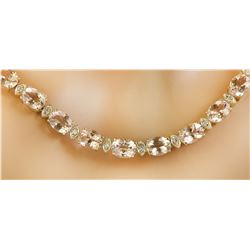 61.50 Carats Morganite 14K Yellow Gold Diamond Necklace