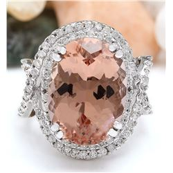 14.10 CTW Natural Morganite 18K Solid White Gold Diamond Ring