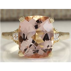 4.86 CTW Natural Morganite And Diamond Ring 18K Solid Yellow Gold