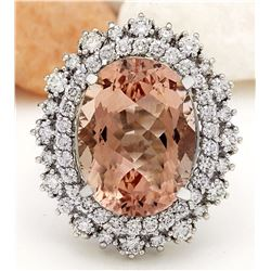 10.68 CTW Natural Morganite 18K Solid White Gold Diamond Ring