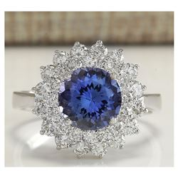 3.45 CTW Natural Blue Tanzanite And Diamond Ring In 18K White Gold